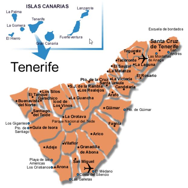 Tenerife map Tenerife south map Detailed map of Tenerife island