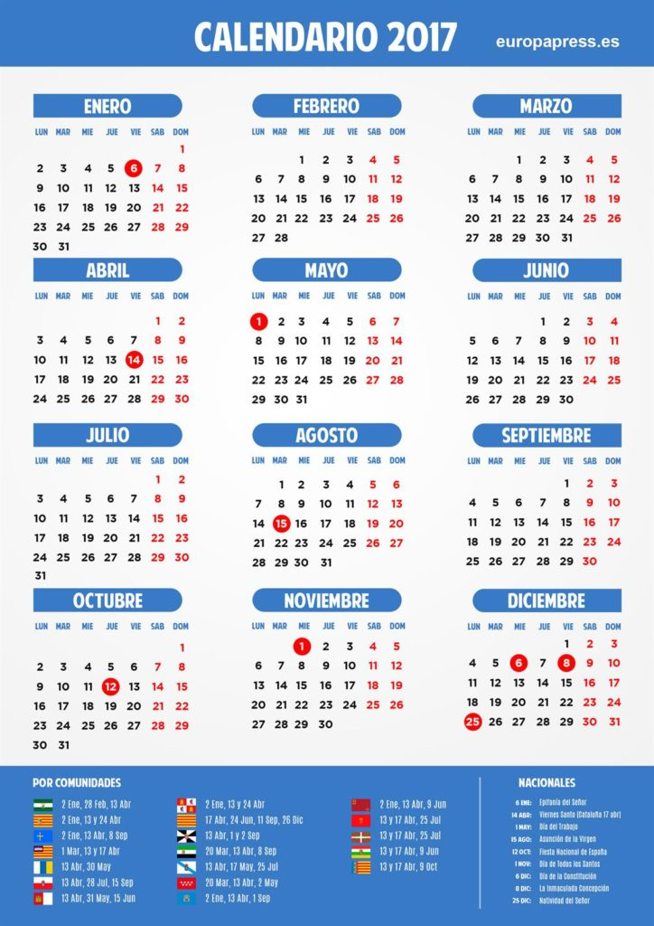 Year 2017 Calendar – Spain: Easter, long weekends and holidays
