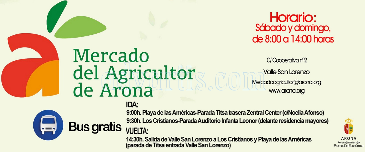 Free bus timetable to Arona Farmers Market in Valle San Lorenzo