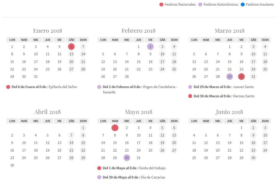 Tenerife holiday calendar 2018