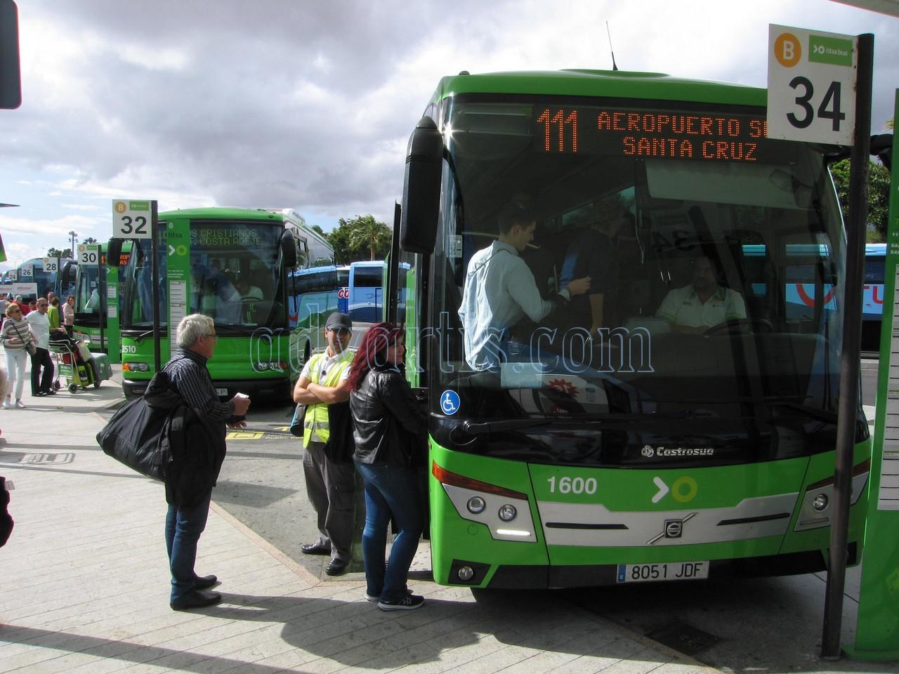 Tenerife bus | Tenerife airport bus 111 | Bus from Tenerife South airport to Santa Cruz